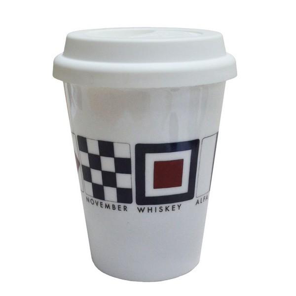 Coffee-to-go-Becher Flaggenalphabet aus Porzellan mit Kunststoff Deckel