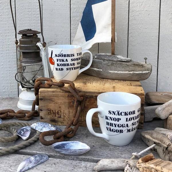 Maritime Kaffeetasse mit schwedischen Texten