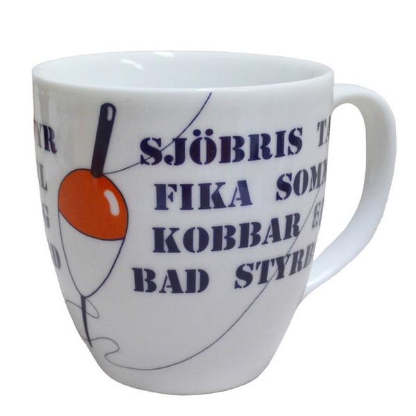 Großer schwedischer Kaffeebecher mit maritimen Begriffen