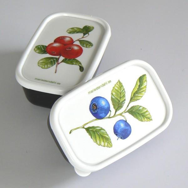 2 Miniboxen mit  Blaubeer-, Preiselbeer-Motiv