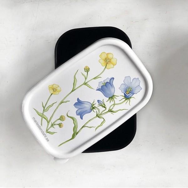 Minibox mit Glockenblume und Butterblume als Deckelmotiv