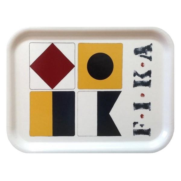 Birkenfurnier Tablett eckig 27x20cm Fika Flaggenalphabet