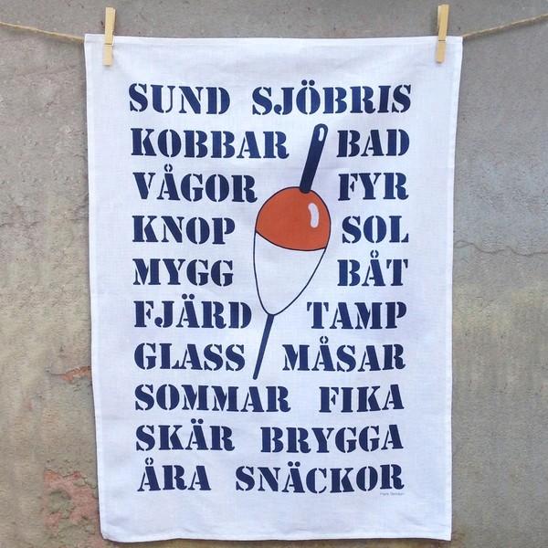 Maritimes Geschirrtuch aus Halbleinen mit schwedischen Texten