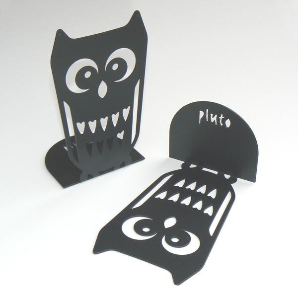 pluto produkter 2 buchst tzen eule metall schwarz bei min butik online kaufen. Black Bedroom Furniture Sets. Home Design Ideas
