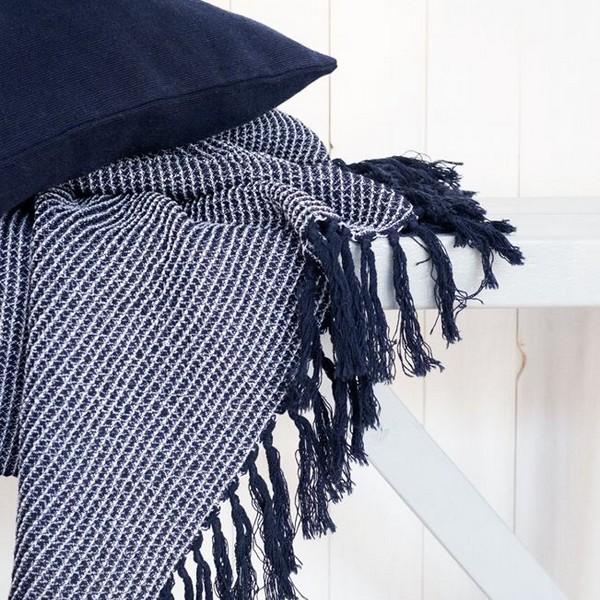 Baumwolldecke Waffelstruktur blau weiß recycelt