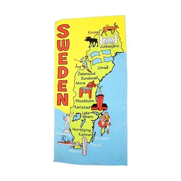 Strandtuch Badetuch Schweden Karte