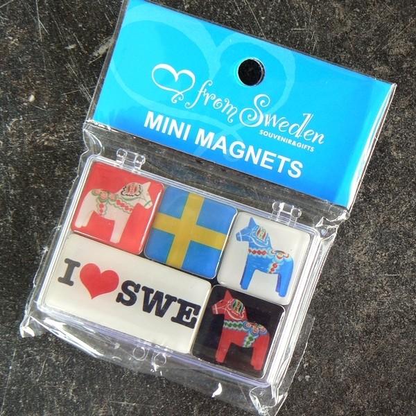 Schönes Souvenir: Glas Magnet Set Dalapferde