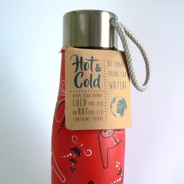 Für Schwedenfans: Heiß-Kalt-Flasche Kurbits rot mit Dalapferden