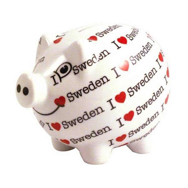 """Spardose aus Porzellan: Sparschwein """"I love Sweden"""""""