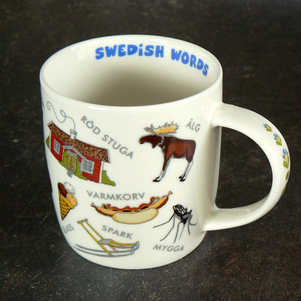 Kaffeebecher / Teebecher Schwedische Wörter weiß