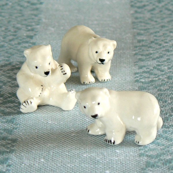 3 niedliche Mini Porzellan Eisbären