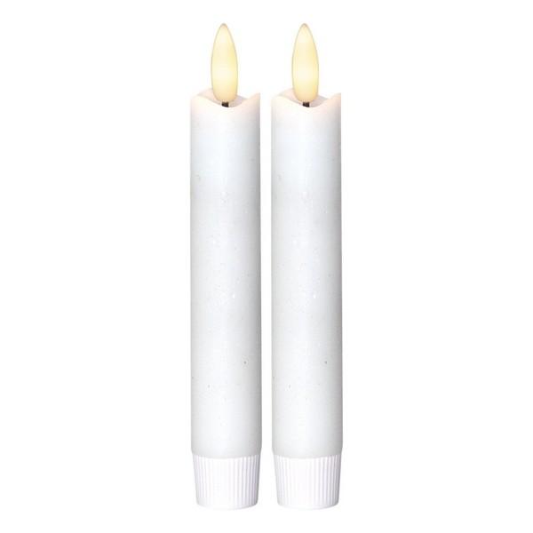 LED-Echtwachs-Stabkerzen (2er-Set) 15 cm weiß flackernd