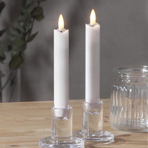 LED-Echtwachs-Stabkerzen (2er-Set) 15 cm weiß mit Timer