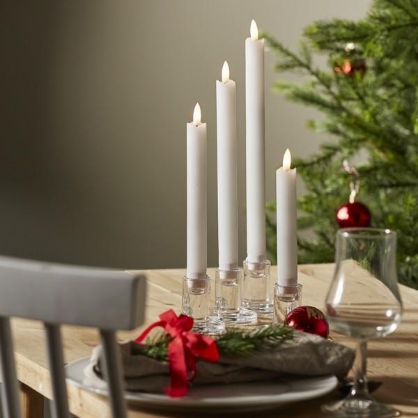LED-Adventskerzen (4er-Set) Echtwachs weiß mit Timer, flackernd