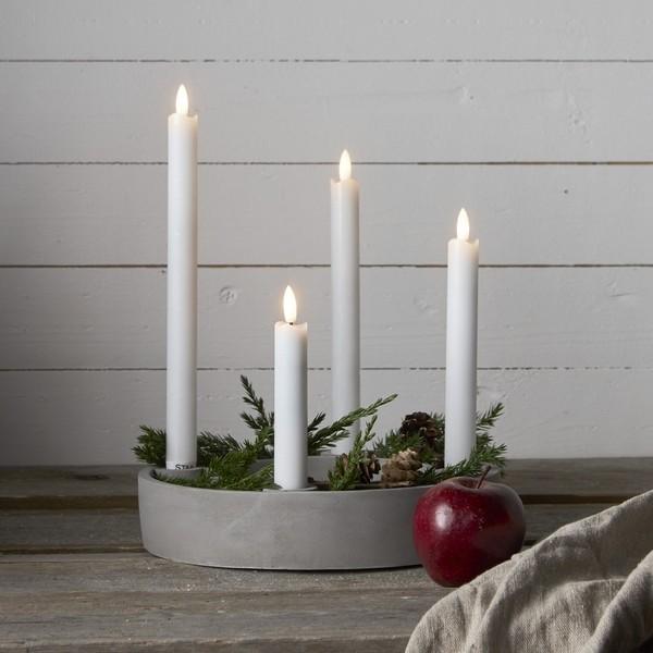 LED-Adventskerzen aus Echtwachs weiß flackernd