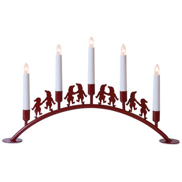Skandinavischer Lichterbogen Nisse Bogen aus Metall in rot