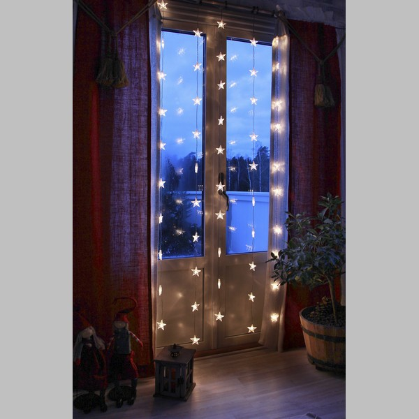 LED-Sternenvorhang 90x200cm bestehend aus 50 Sternen