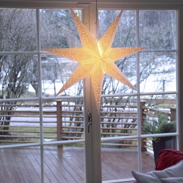 """Schwedischer Leucht-Stern """"Sensy Star"""" 100 cm creme hängend"""