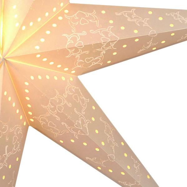 """Zartes Lochmuster von Leucht-Stern """"Sensy Star"""" 100 cm creme"""