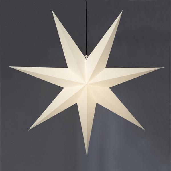 """Riesiger Leucht-Stern """"Frozen"""" aus Papier 140 cm weiß hängend"""