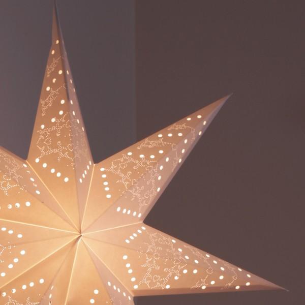 """Feines Lochmuster von Standleuchte """"Sensy Star"""" creme 78 cm"""