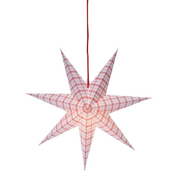 Schwedischer Leucht-Stern 54 cm rot-weiss kariert hängend