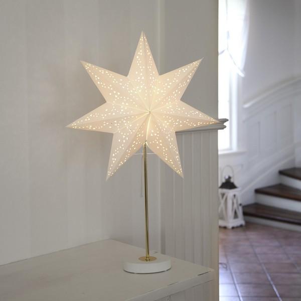 Weihnachtsbeleuchtung: Tischlampe mit Papier-Stern in weiß