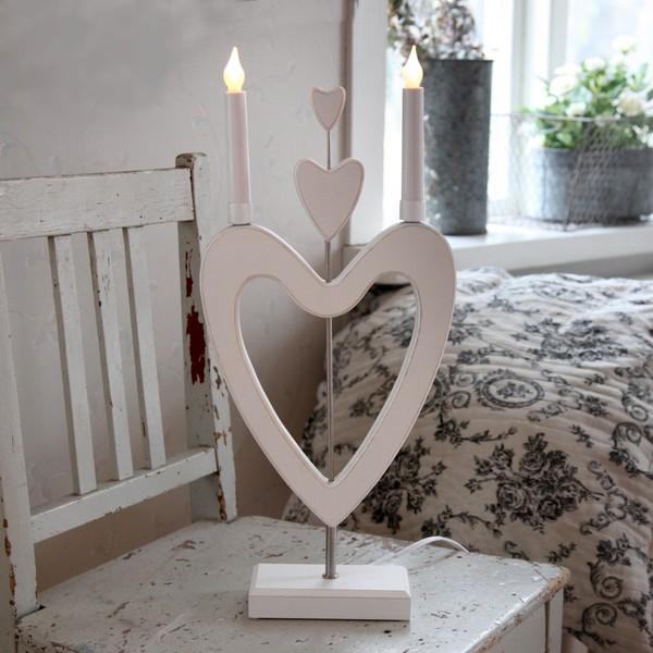 """schwedischer LED-Fensterleuchter """"Herzen über Herzen"""" weiß"""
