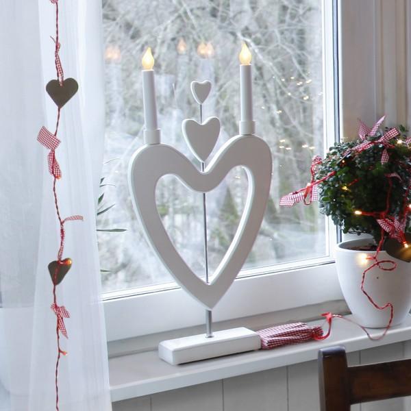 """schwedischer LED-Fensterleuchter """"Herzen über Herzen"""" aus Holz"""
