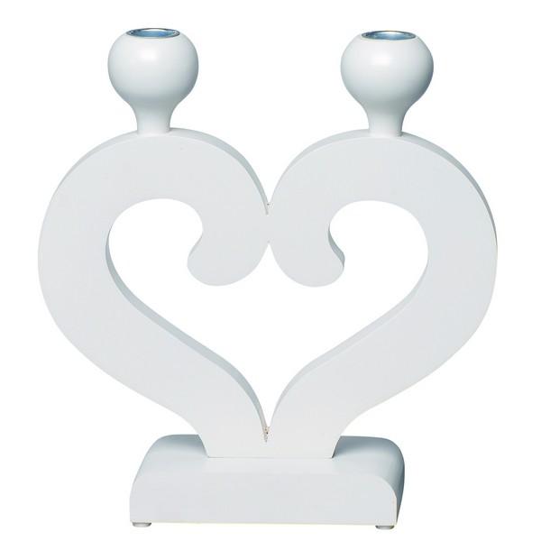 """skandinavischer Kerzenleuchter """"Nusnäs-2"""" weiß aus Holz Herzform zum Geburtstag, zum Valentinstag, zum Muttertag, zu Weihnachten, zur Hochzeit."""