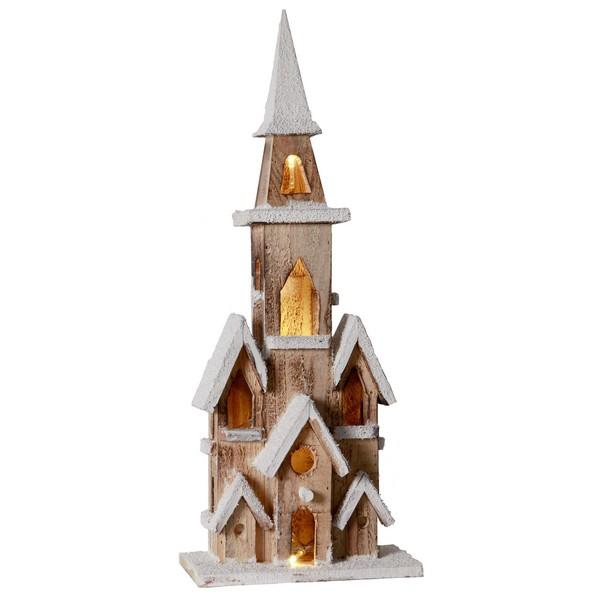 Beleuchtete Holzkirche batteriebetrieben mit innenliegender Lichterkette und Timer