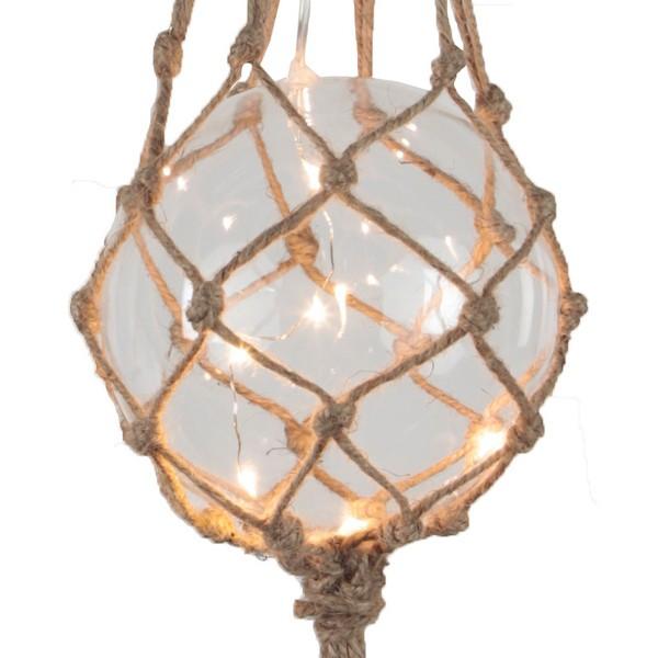 Beleuchtete Fischerkugel aus Glas in naturfarbenem Netz