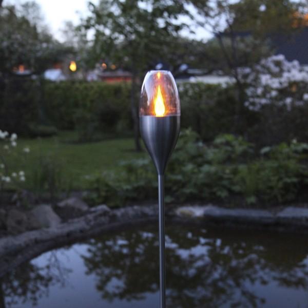 LED-Solar-Fackeln flackernd Edelstahl 2er-Set