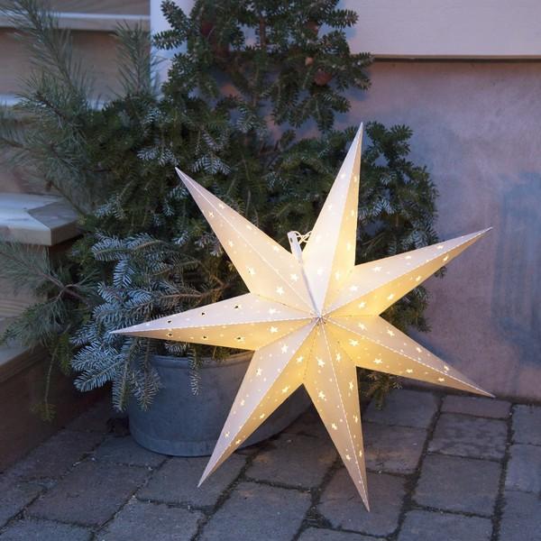 LED-Leucht-Stern für den Außenbereich weiß Batteriebetrieb mit Timer