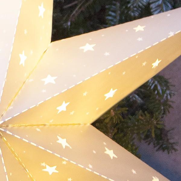 LED-Outdoor-Stern aus Kunststoff weiß Batteriebetrieb mit Timer