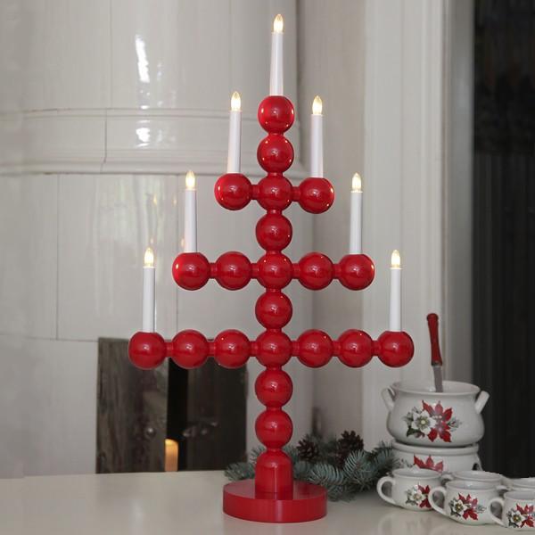 """Schwedischer Lichterbogen """"Julkul"""" 7-flammig rot aus Holz"""