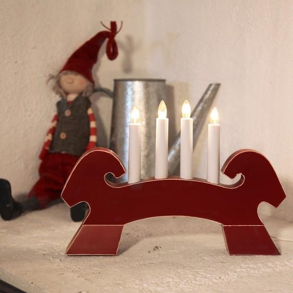 schwedischer Fensterleuchter Lichterbogen Julbock rot aus Holz