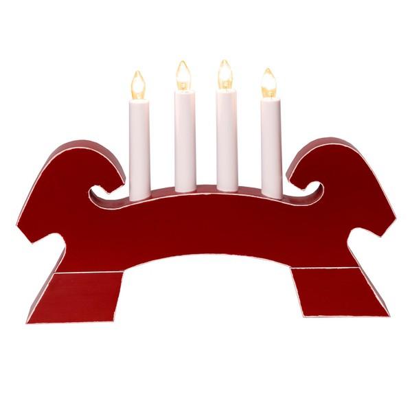 Fensterleuchter Lichterbogen Julbock rot aus Holz zu Weihnachten