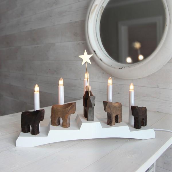 """Schwedischer Fensterleuchter """"Staffans fålar"""" 5-flammig aus Holz"""