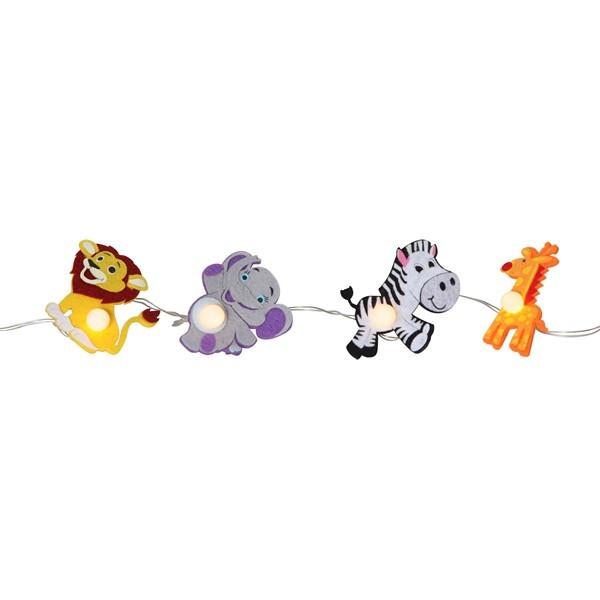 LED-Lichterkette mit Löwe, Elefant, Zebra, Giraffe aus Filz; Batteriebetrieb mit Timer