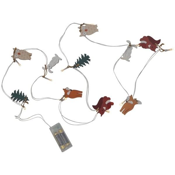 LED-Lichterkette mit Hase, Fuchs, Eule, Eichhörnchen, Tanne