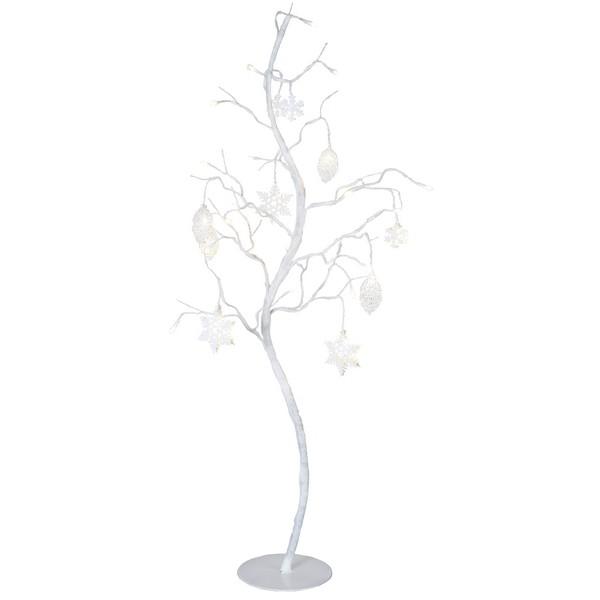 Tolle Winterdeko: LED-Deko-Birke mit 27 LEDs und Zapfen und Eiskristallen in weiß