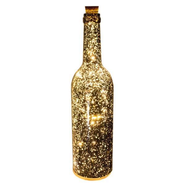 LED-Dekoration Flasche silber Batteriebetrieb mit Timer flackernd