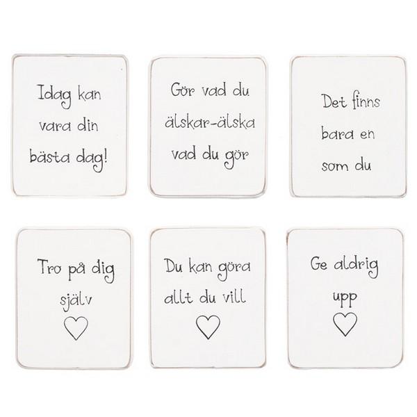 """6 Magnete """"Motivation"""" mit schwedischem Text"""