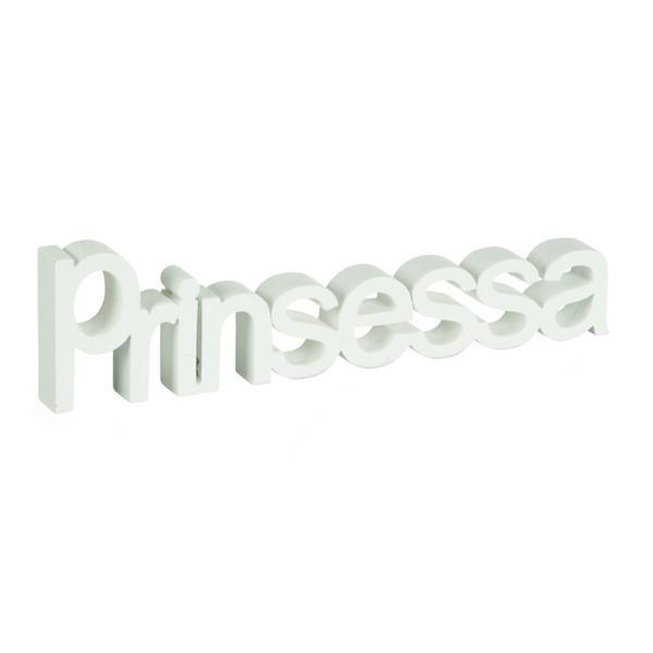 "Schriftzug ""Prinsessa"" weiß im Shabby Stil"