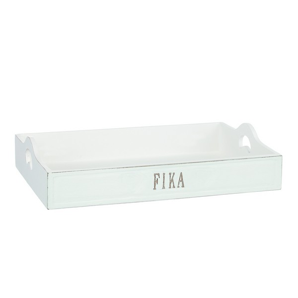 Tablett 25x35cm Fika aus Holz im weißen Shabby Stil