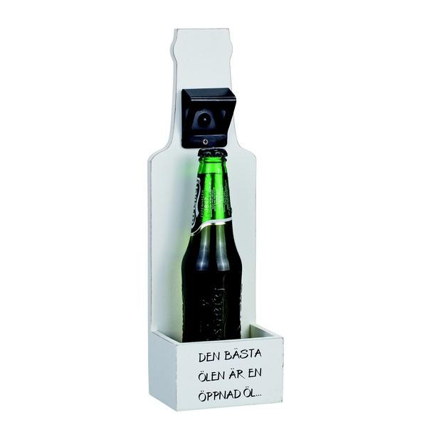 Wand-Flaschenöffner aus Holz weiß im Shabby Stil mit schwedischem Text