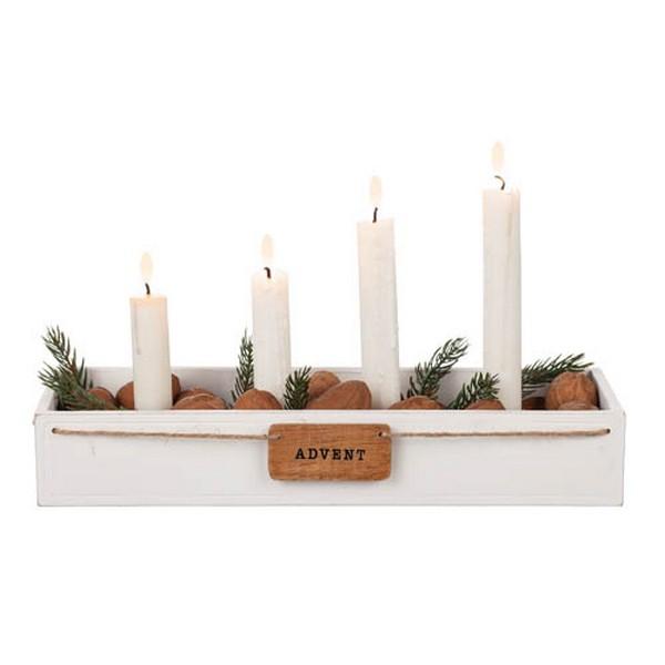 """Adventskerzenhalter aus Holz in weiß mit Schild """"Advent"""""""
