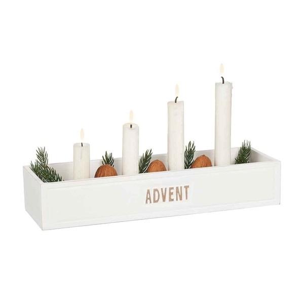 "Adventskerzenhalter ""Advent"" aus Holz weiß im Shabby Stil"