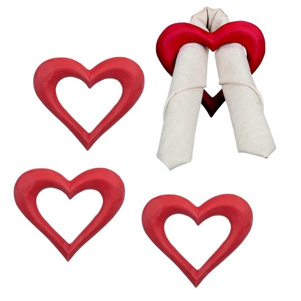 Adventsdeko Serviettenring Herz aus Holz rot 4er-Set
